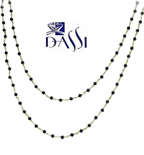 Girocollo a rosario in argento 925 dorato con spinello nero