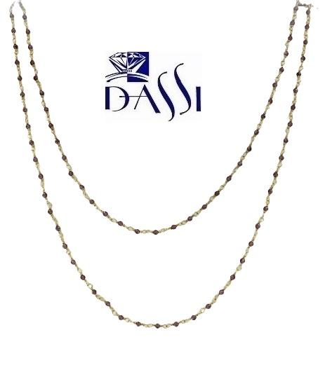 Girocollo rosario in argento 925 dorato con tormailna rosa