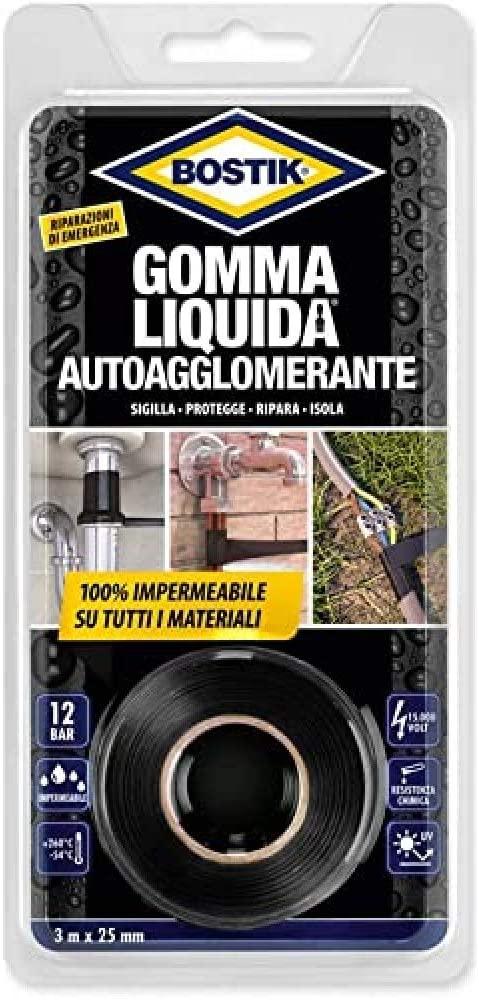 Gomma Liquida Autoagglomerante 25 mmX3 m Nero BOSTIK