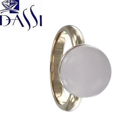 Anello in argento 925 dorato con centrale nudo in quazo rosa rotondo