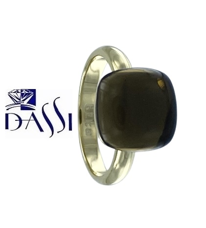 Anello in argento 925 dorato con quarzo fume quadrato a nudo