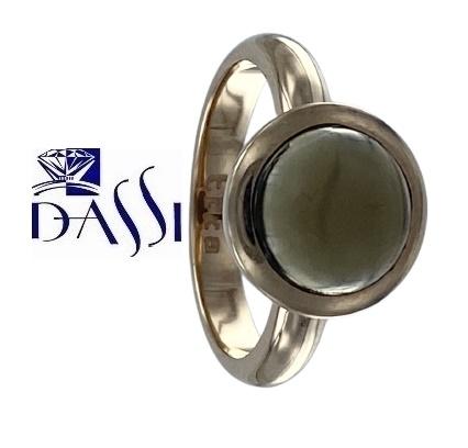 Anello in argento 925 dorato con quarzo fumè incassato a cipollina