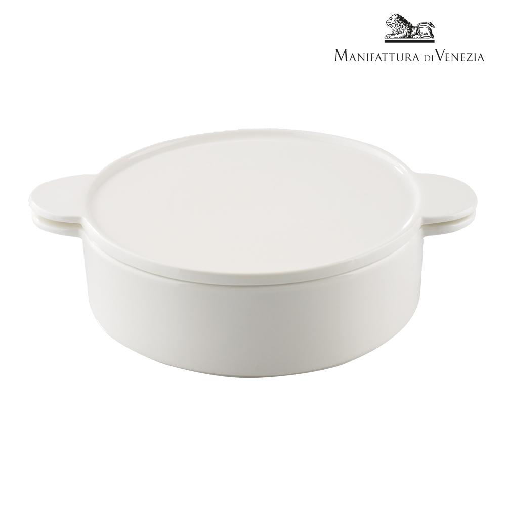 Pirofila con coperchio rotonda bianca cm 24   PYRO SURPRISE