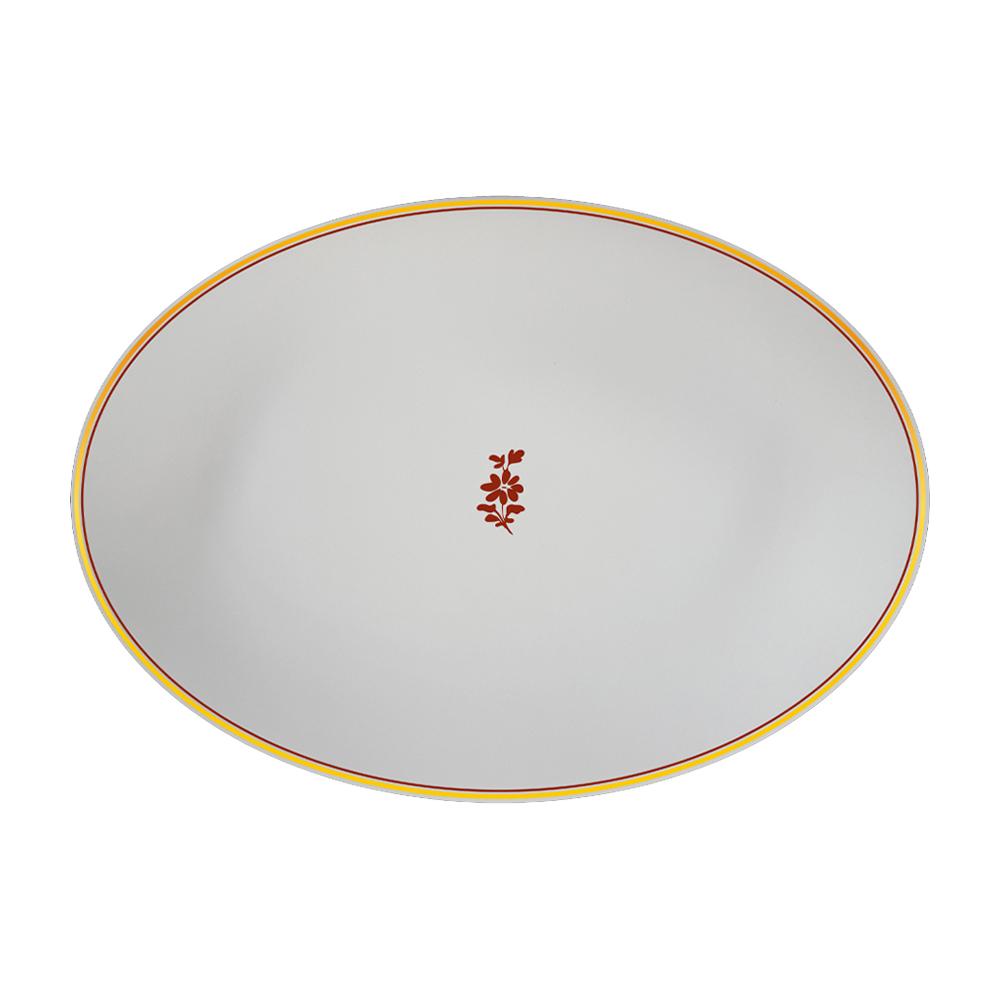 Piatto ovale cm 26   Feston e Cadena Rosso