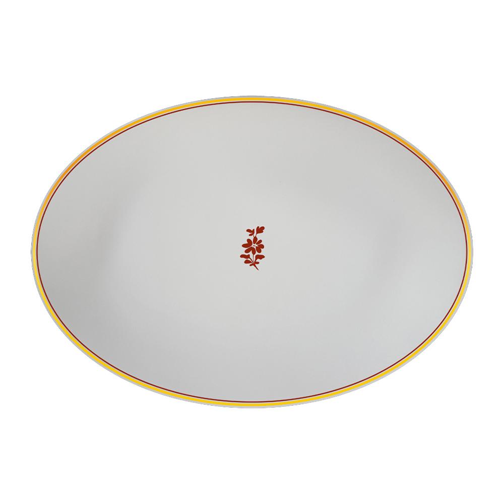 Piatto ovale cm 32   Feston e Cadena Rosso