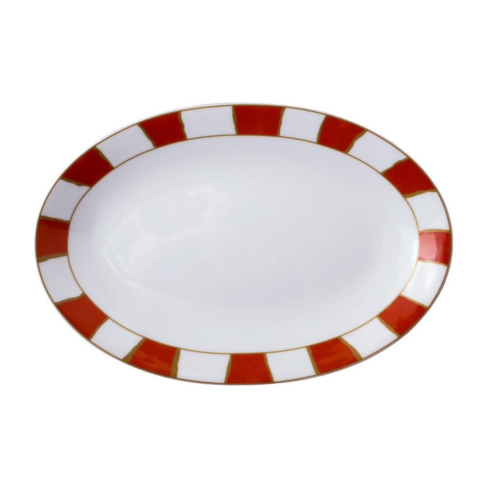 Piatto ovale cm 26 | Striche Arancio e Oro