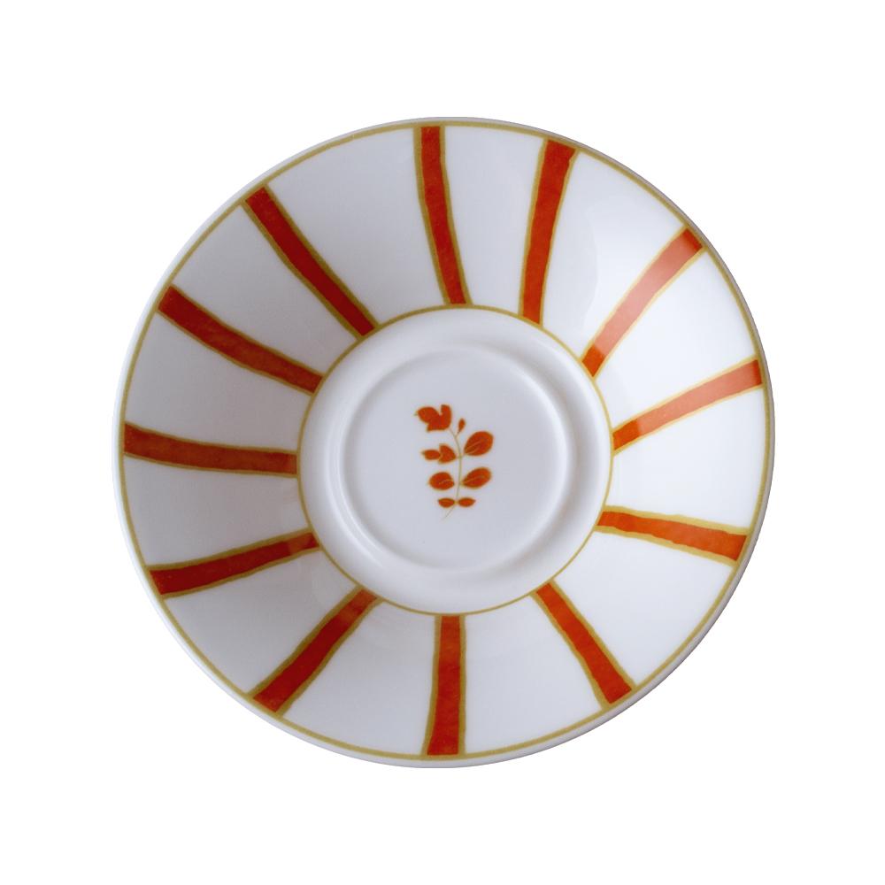 Piattino per tazza caffè cm 12   Striche Arancio e Oro