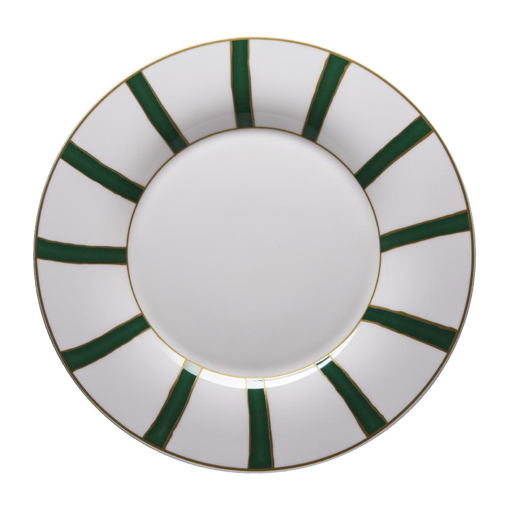Piatto rotondo cm 31 | Striche Verdi e Oro