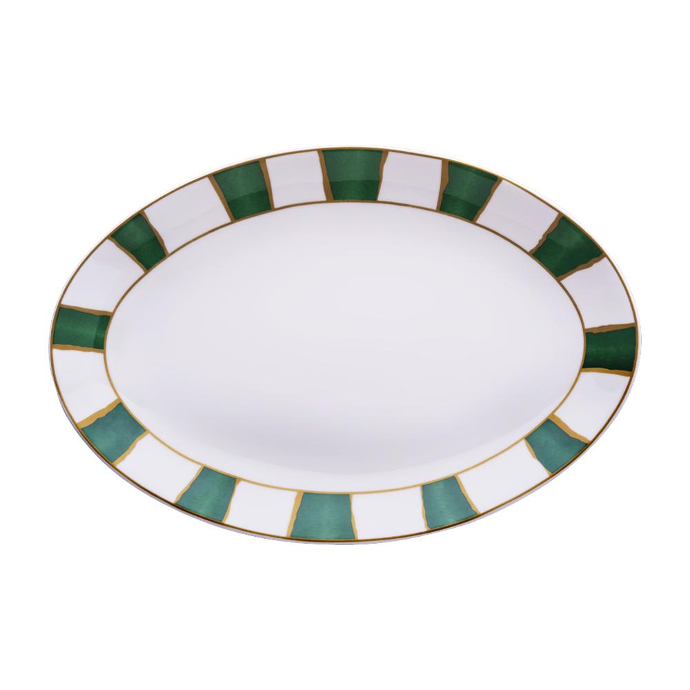 Piatto ovale cm 26 | Striche Verdi e Oro