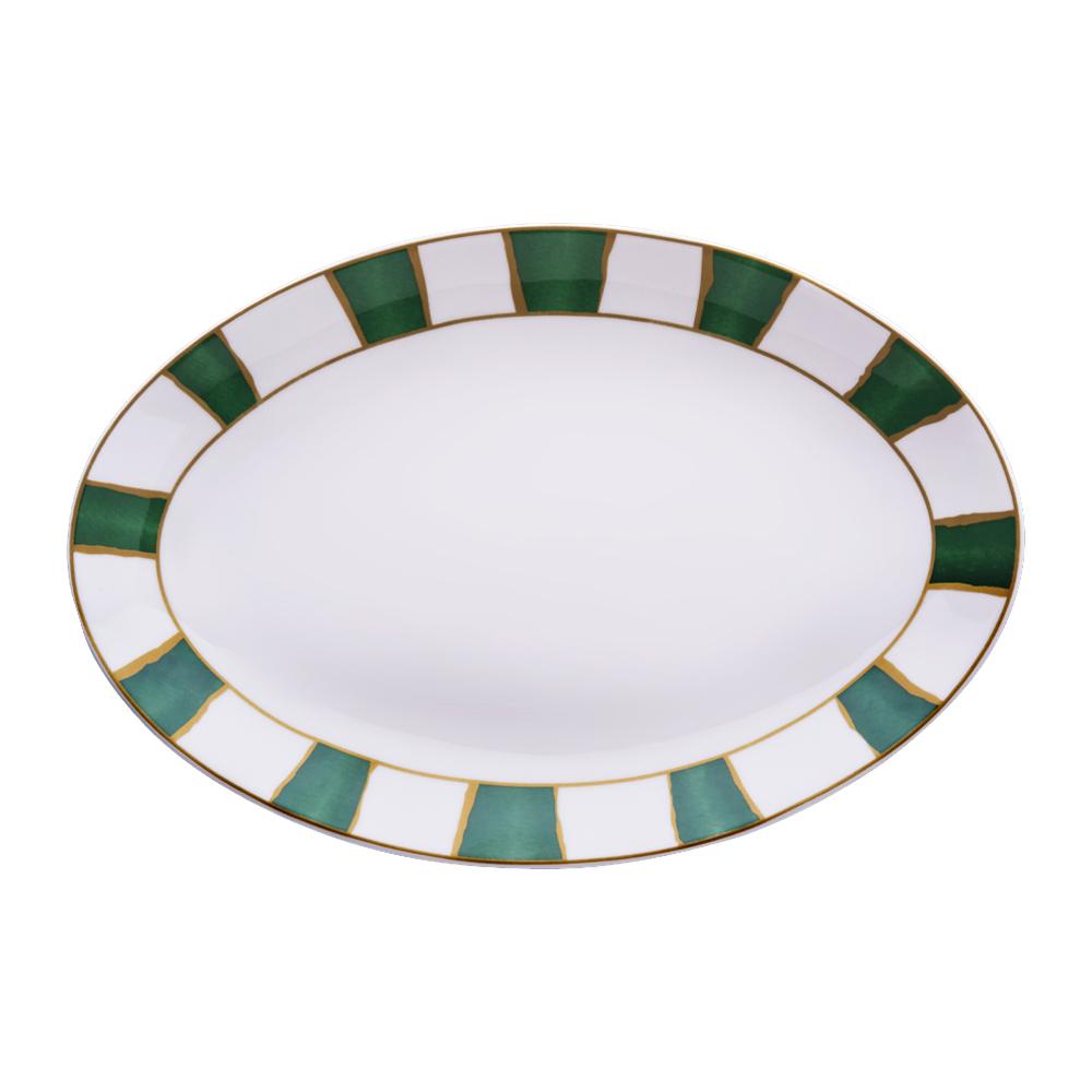 Piatto ovale cm 32   Striche Verdi e Oro