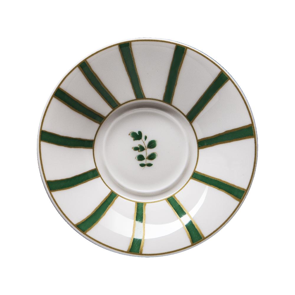 Piattino per tazza caffè cm 12   Striche Verdi e Oro