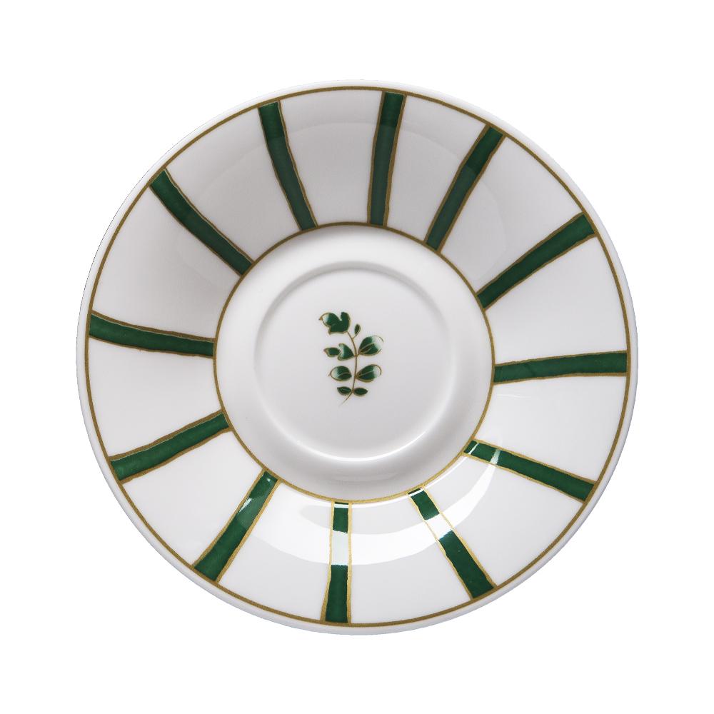 Piattino per tazza thè e cappuccino cm 16 | Striche Verdi e Oro