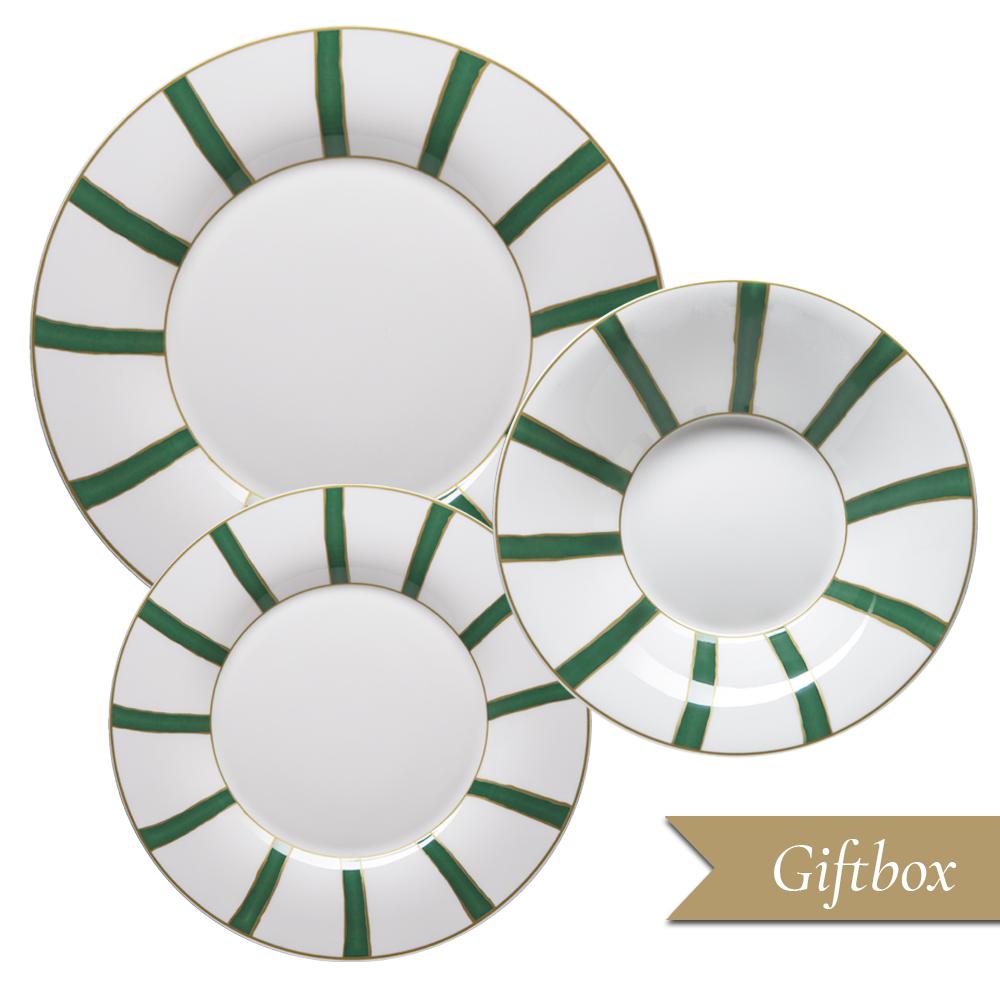 Set 3 pezzi in Giftbox GCV | Striche Verdi e Oro