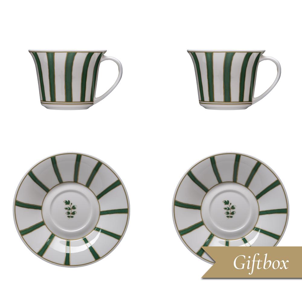 Set tè 4 pezzi in Giftbox GCV | Striche Verdi e Oro