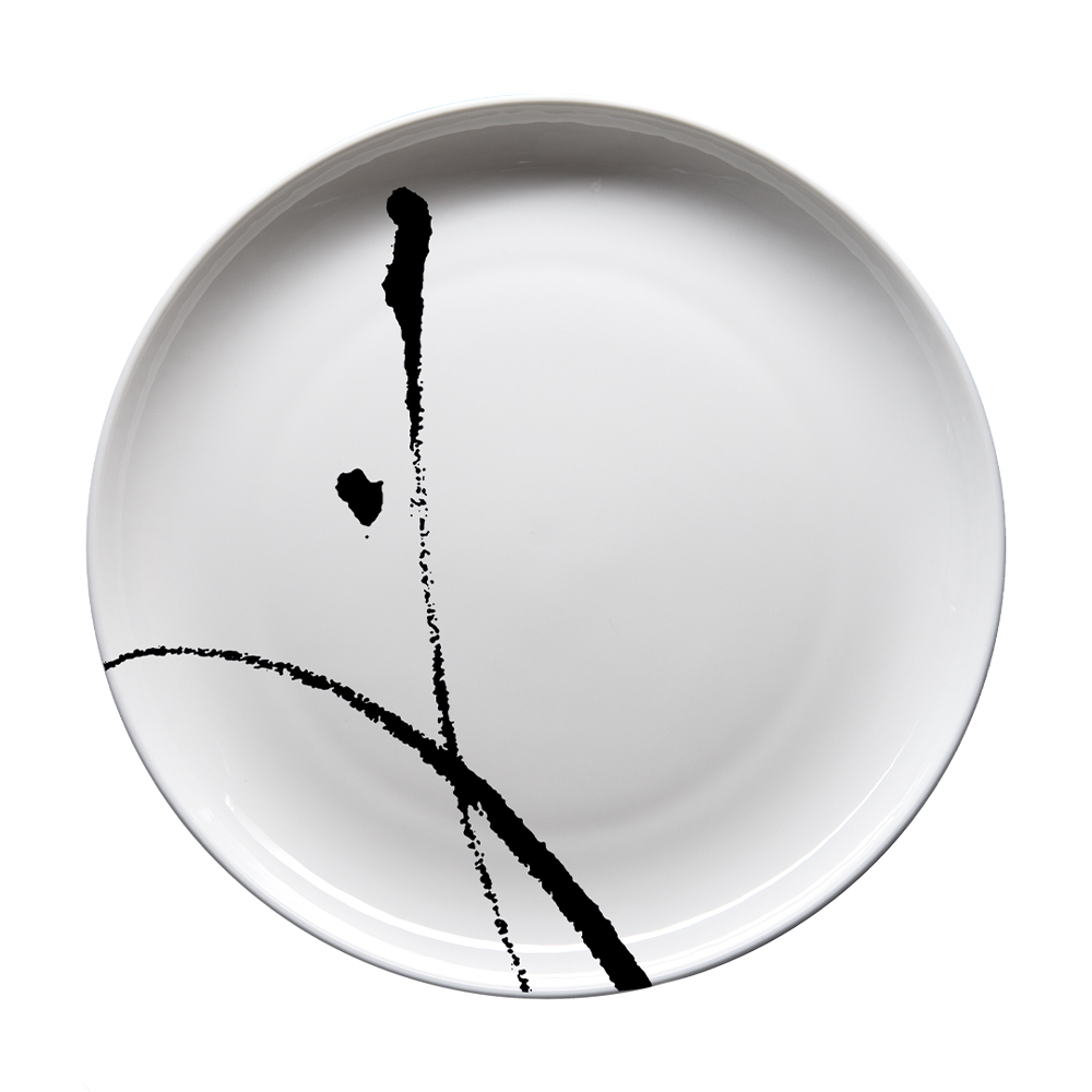 Piatto piano cm 27 | Brush Nero