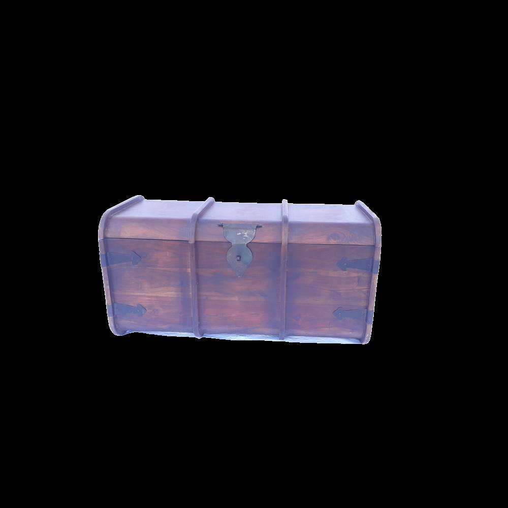 Baule tondo in legno di palissandro indiano (sheesham wood) con inserti in ferro
