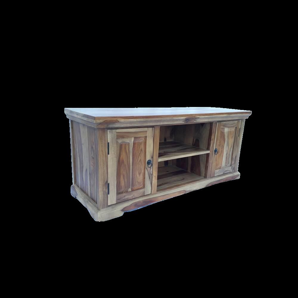 Porta Tv in legno di palissandro indiano naturale con 2 ante e 2 ripiani