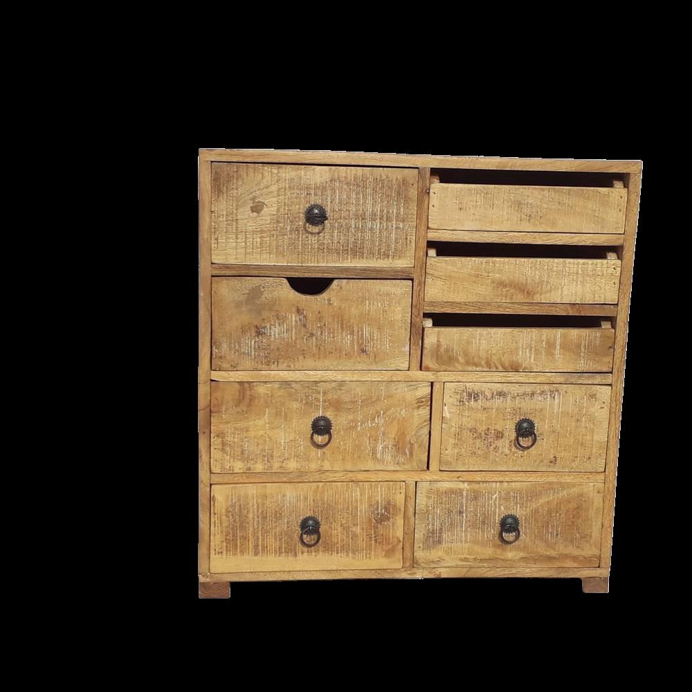 Mobiletto con cassetti in legno di mango con finitura antichizzata brown wash