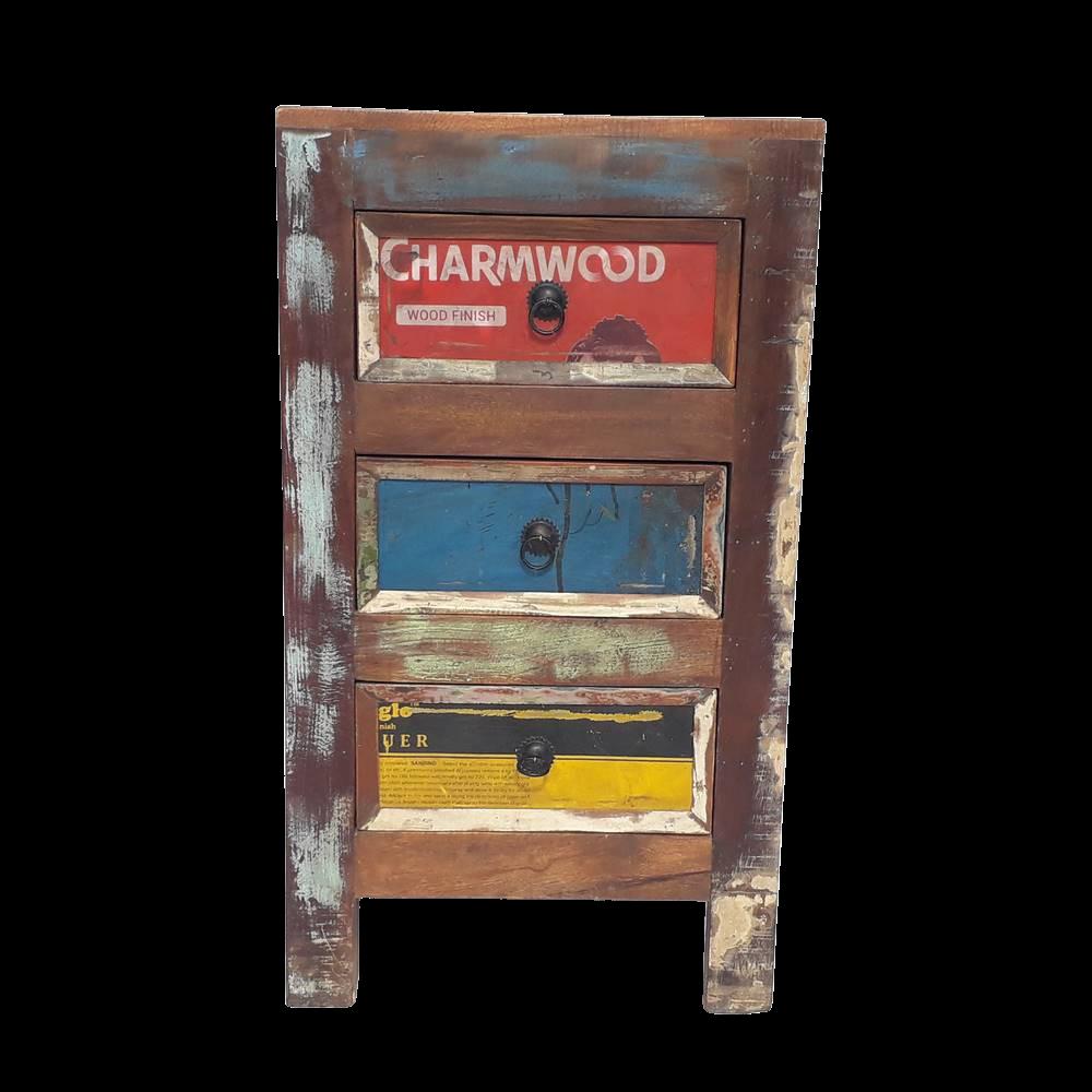 Mobiletto con 3 cassetti in legno recuperato di teak con parte frontale cassetti in latta