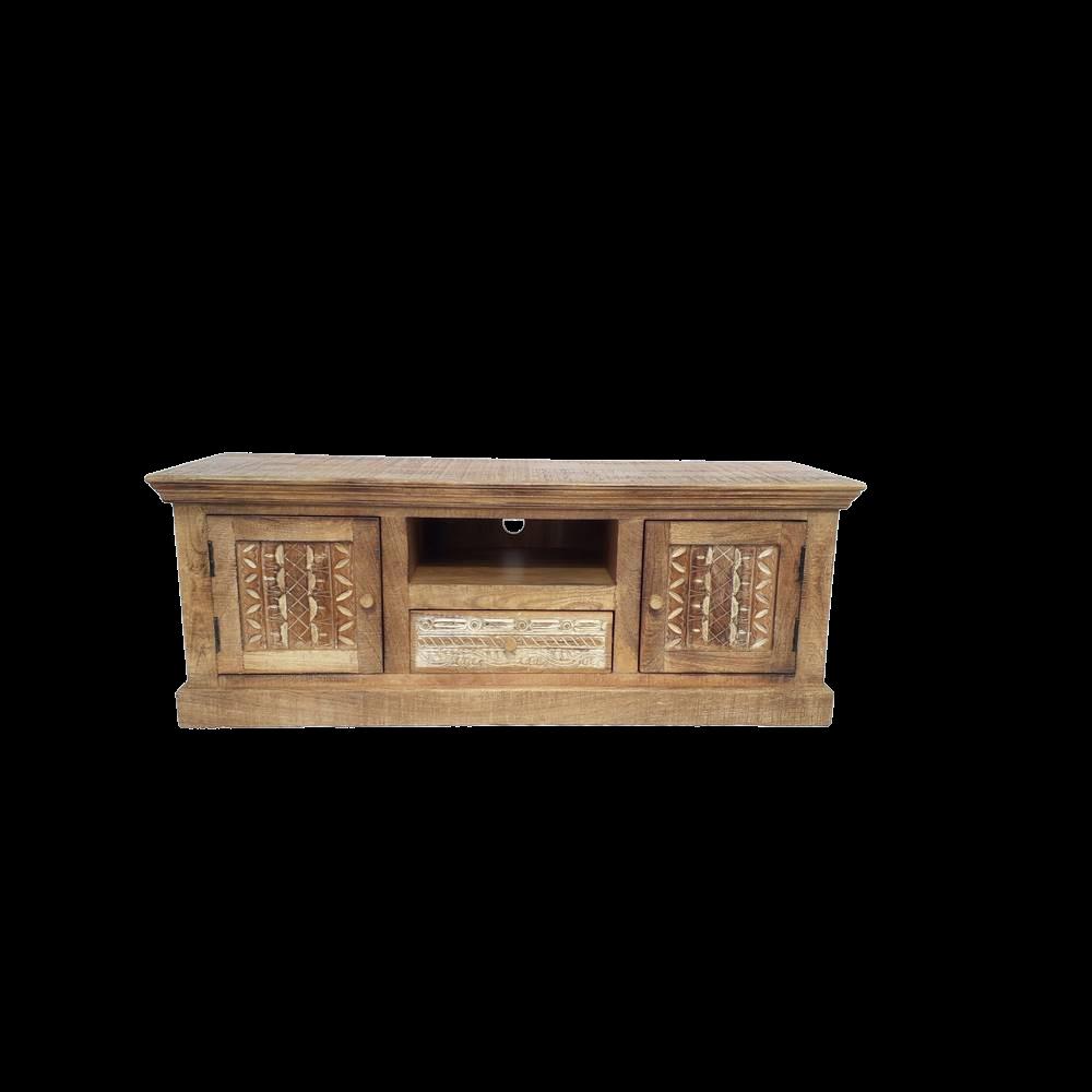 Porta Tv in legno di mango brown wash con 2 ante intagliate 1 ripiano 1 cassetto