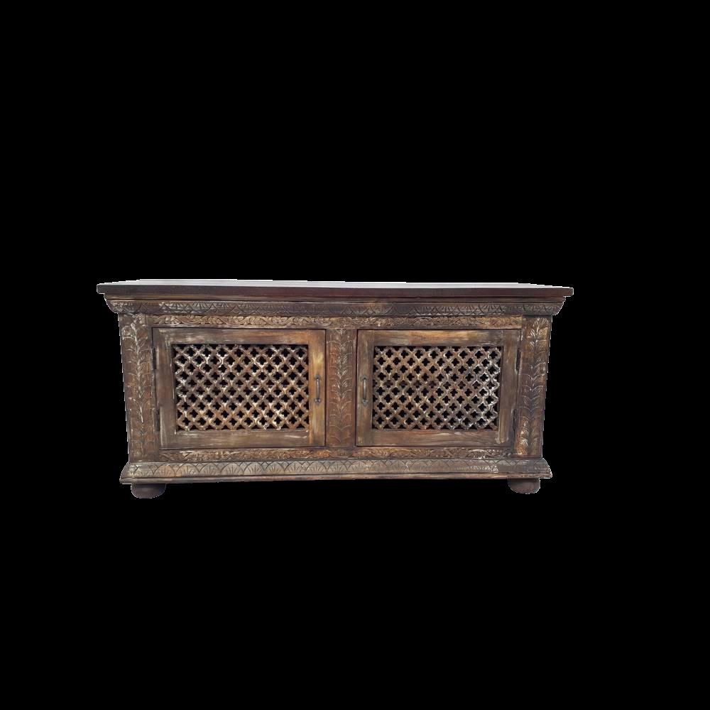 Porta Tv / Credenza bassa in legno di palissandro indiano con 2 ante intagliate e forate