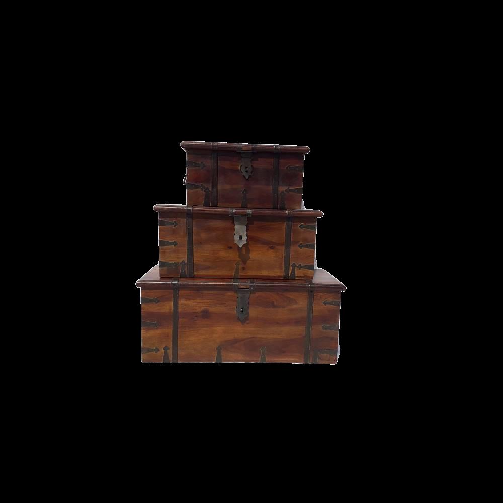 Baule in legno di palissandro indiano varie misure con inserti in ferro