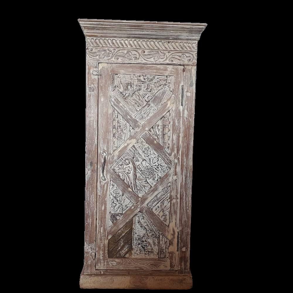 Credenza alta in legno di palissandro indiano w/w con ante con timbri in legno di teak recycle