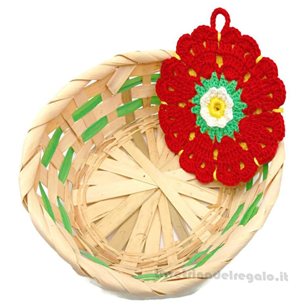 Presina fiore rosso rotonda ad uncinetto con cestino - Handmade - Italy