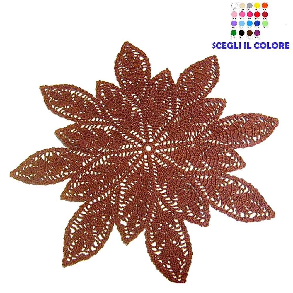 Centrino marrone con foglie ad uncinetto 46 cm - Handmade in Italy