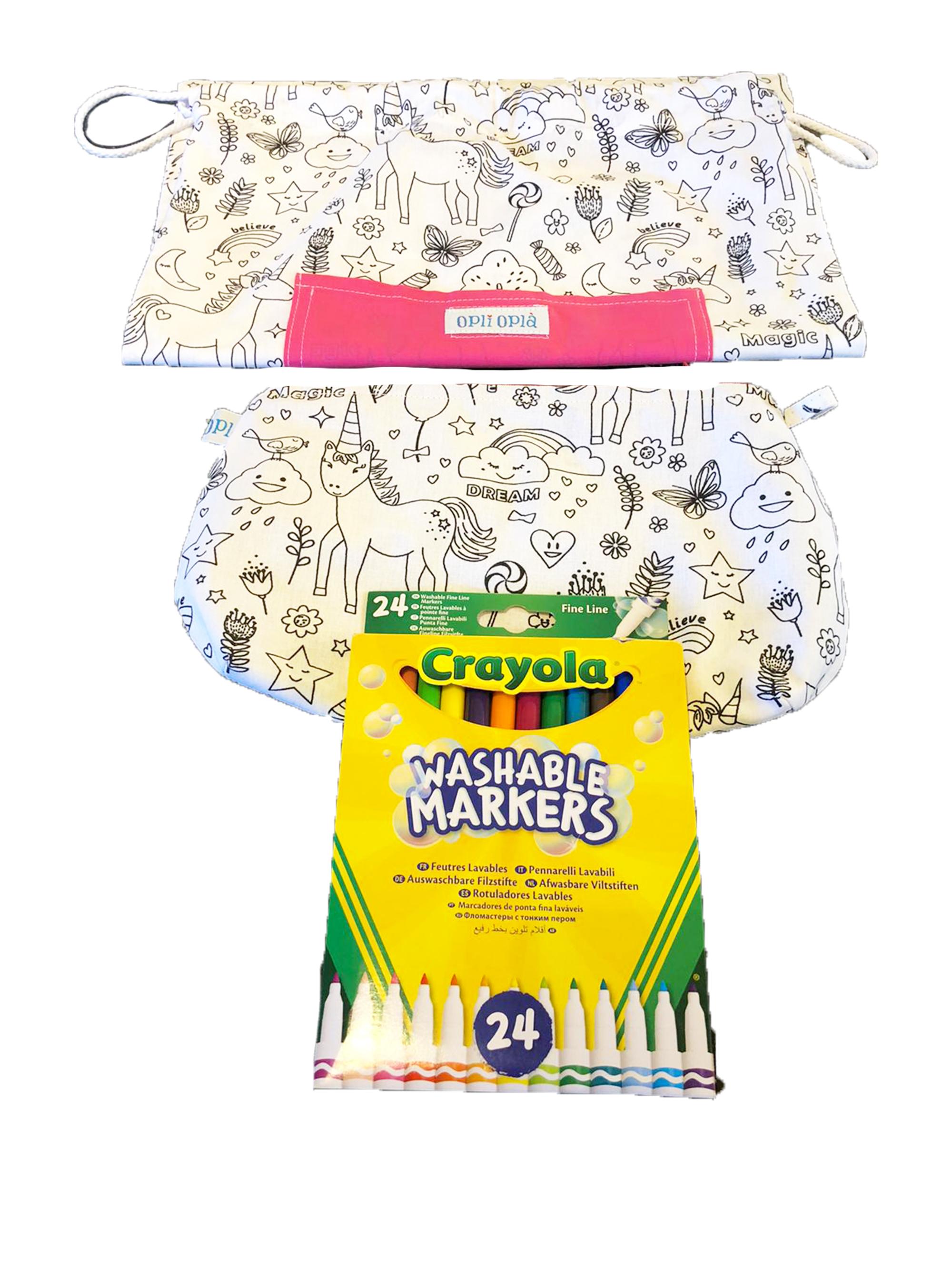 Set scuola Unicorni: Sacca multiuso in tessuto+pochette+pennarelli