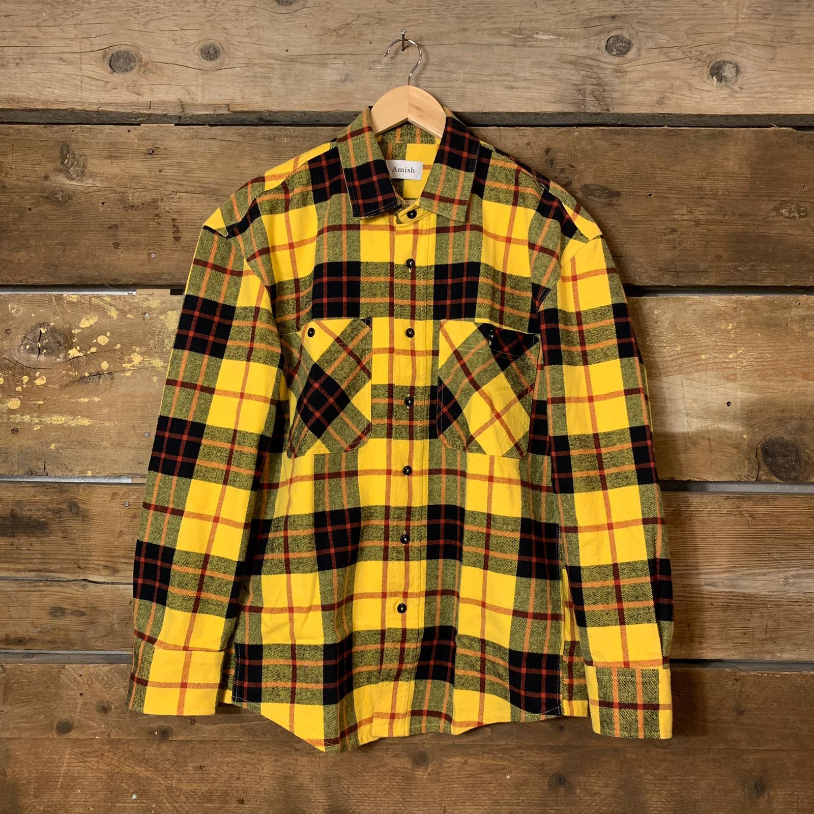 Camicia Amish Supplies Uomo Oversize in Flanella a Quadri Giallo