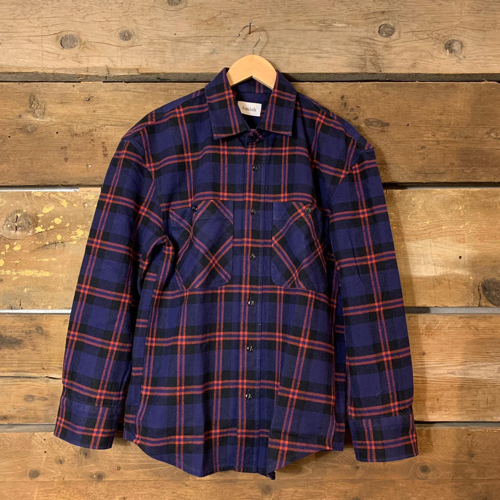 Camicia Amish Supplies Donna Oversize in Flanella a Quadri Viola