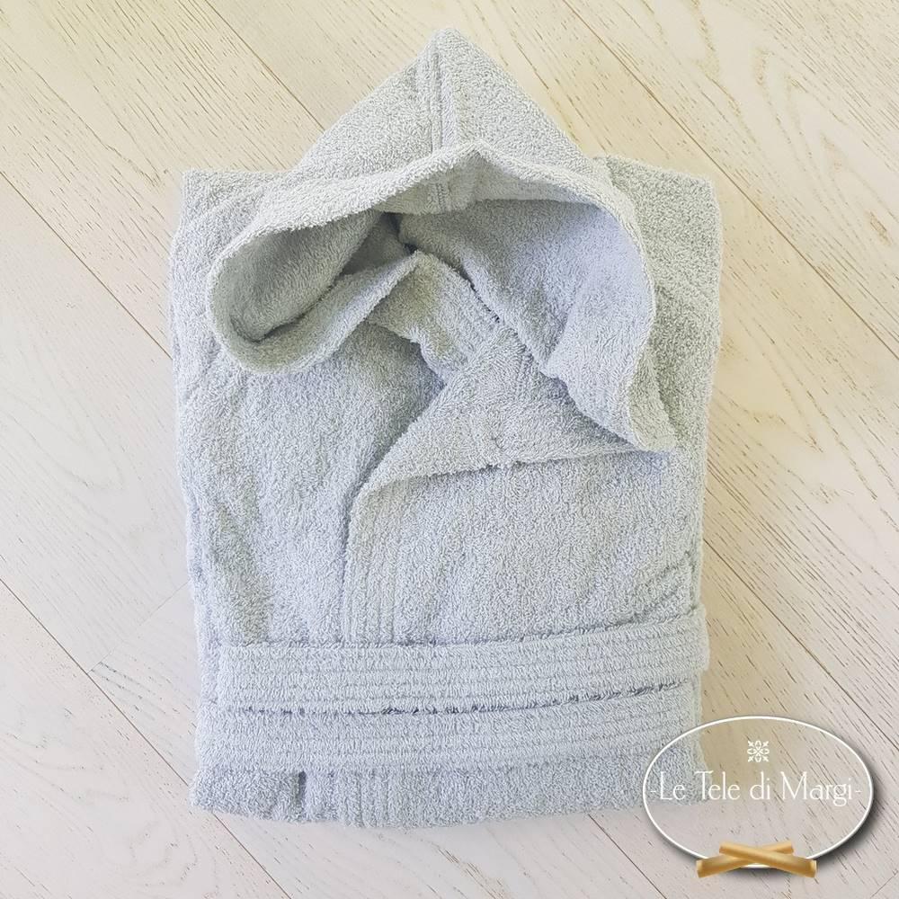 Accappatoio con cappuccio grigio in cotone Cardato