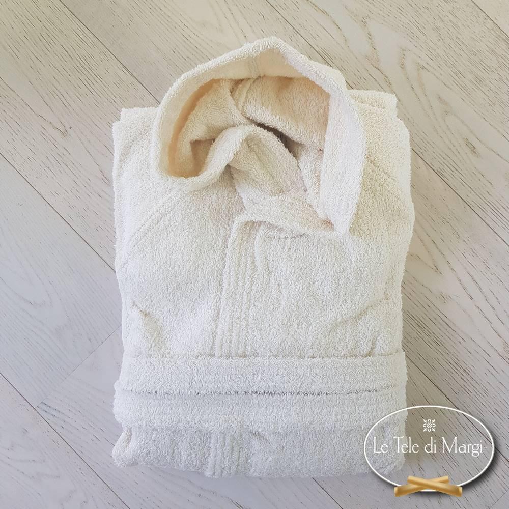 Accappatoio con cappuccio panna in cotone Cardato