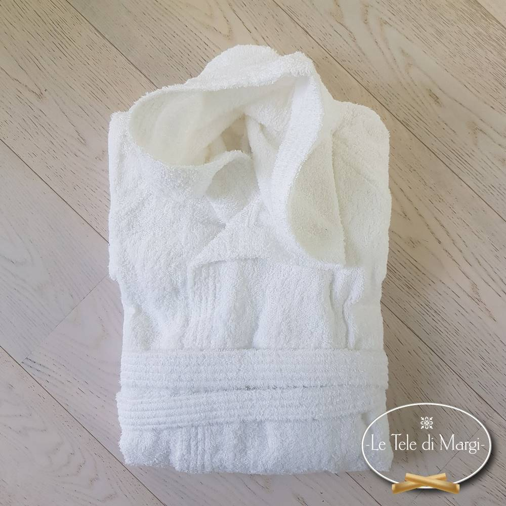 Accappatoio con cappuccio bianco in cotone Cardato