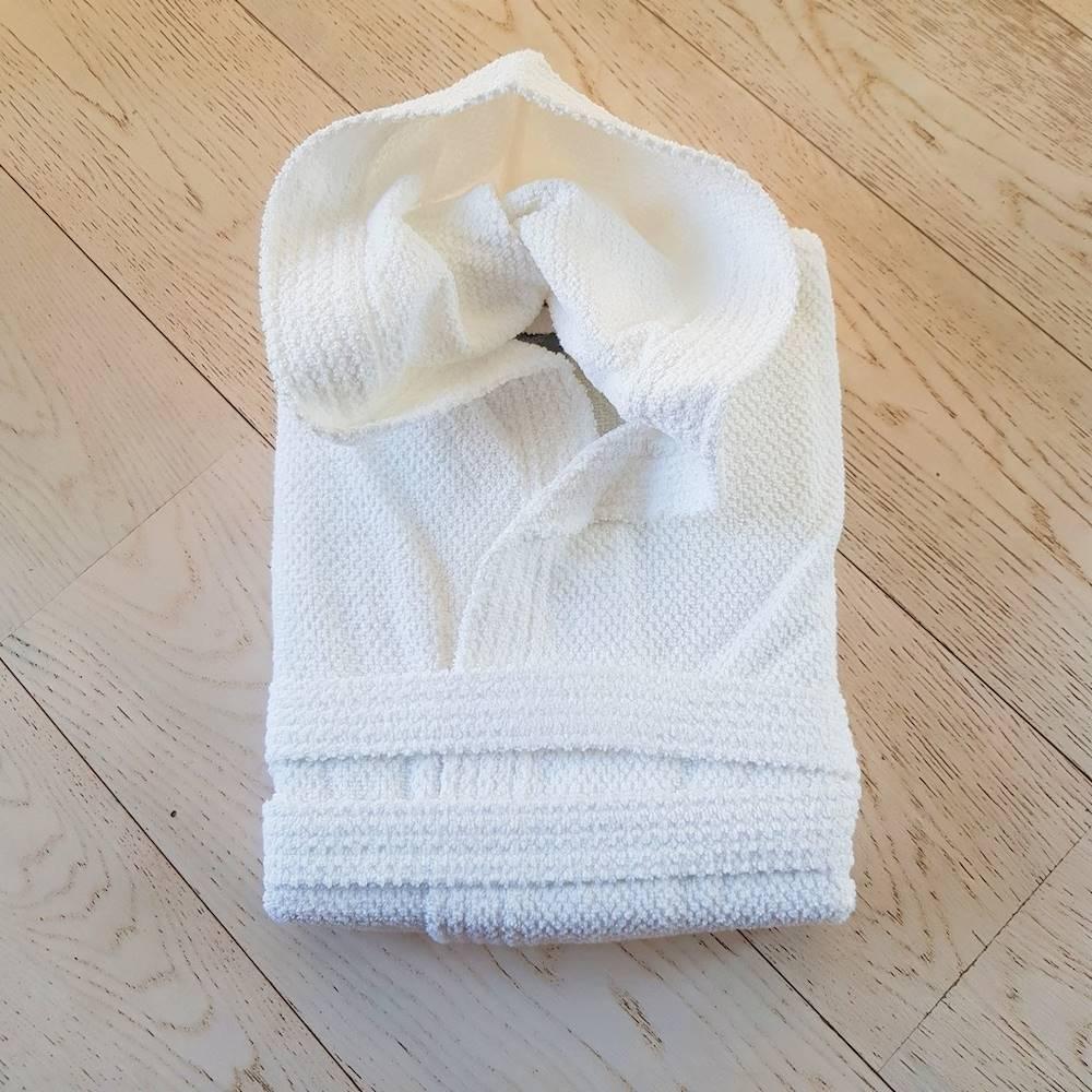 Accappatoio con cappuccio chicco di riso bianco