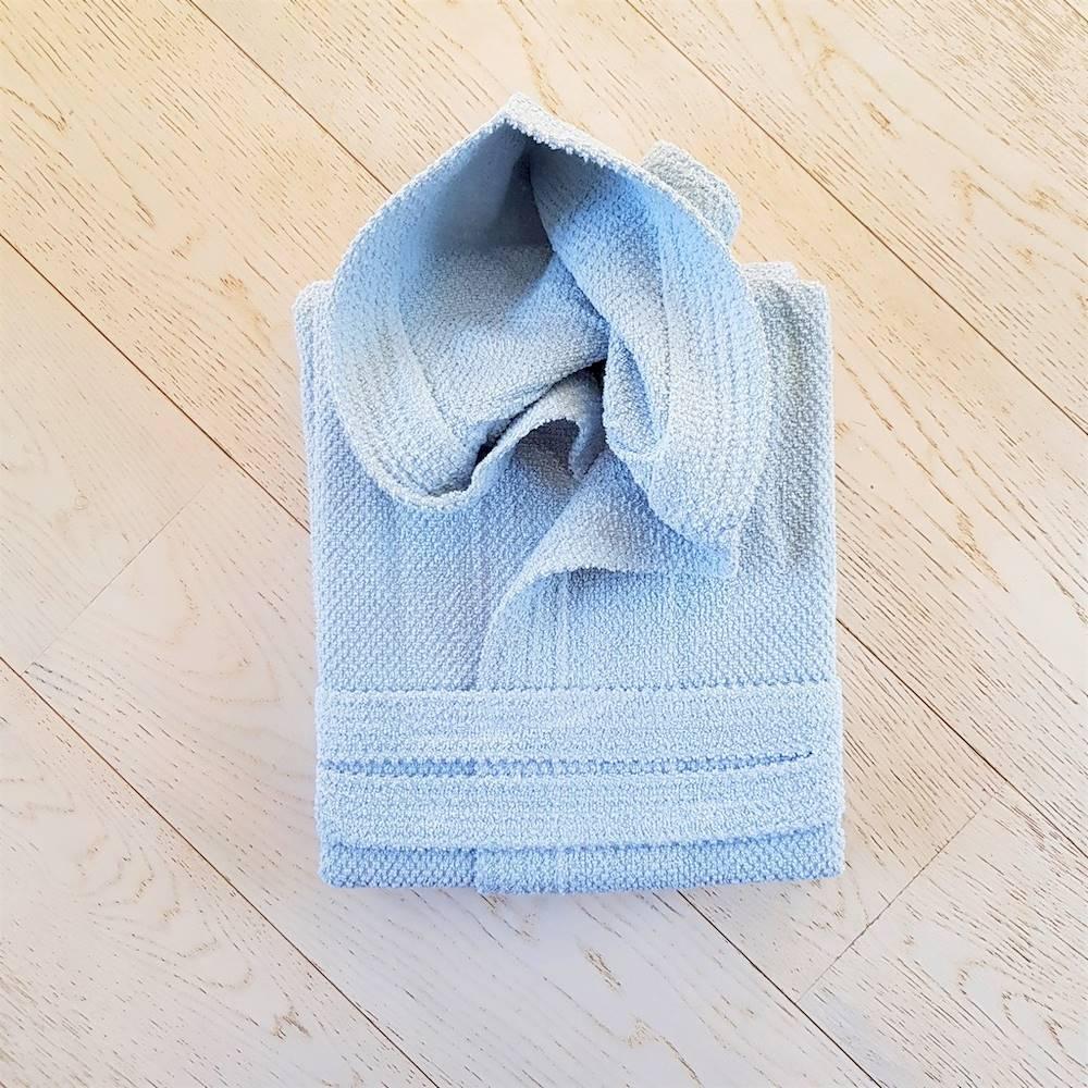 Accappatoio con cappuccio chicco di riso azzurro