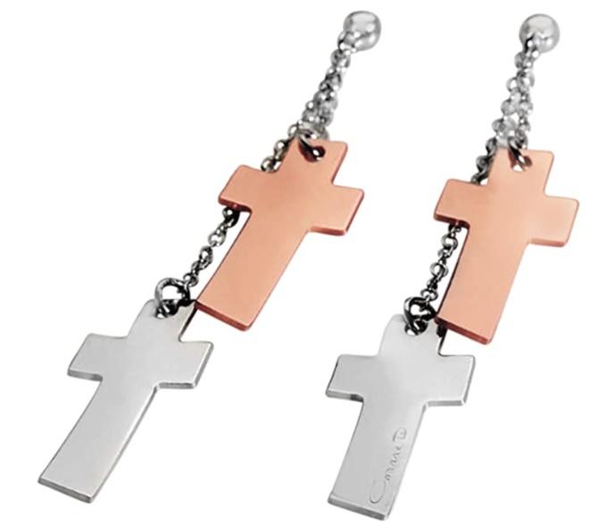 Orecchini Comete in acciaio pendenti con 4 croci, due placcati in argento e due oro rosa