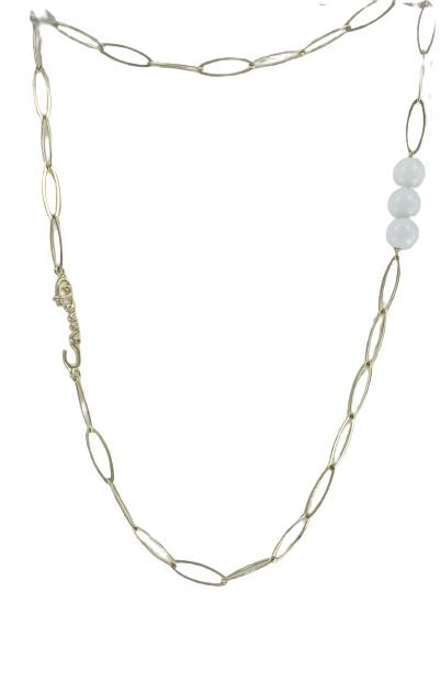 Collana Comete in acciaio placato oro e sfere in agata bianca