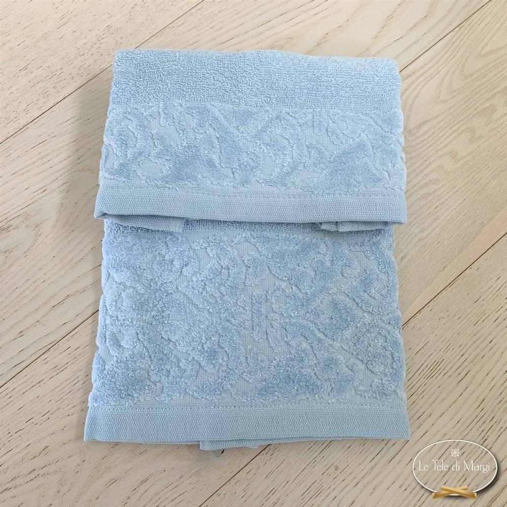 Telo doccia balza in ciniglia azzurro