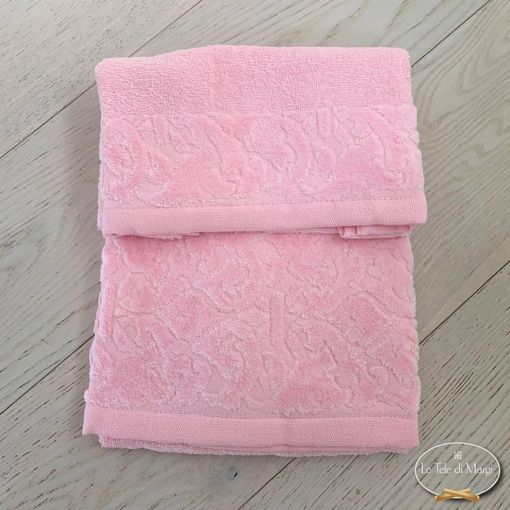 Telo doccia balza in ciniglia rosa