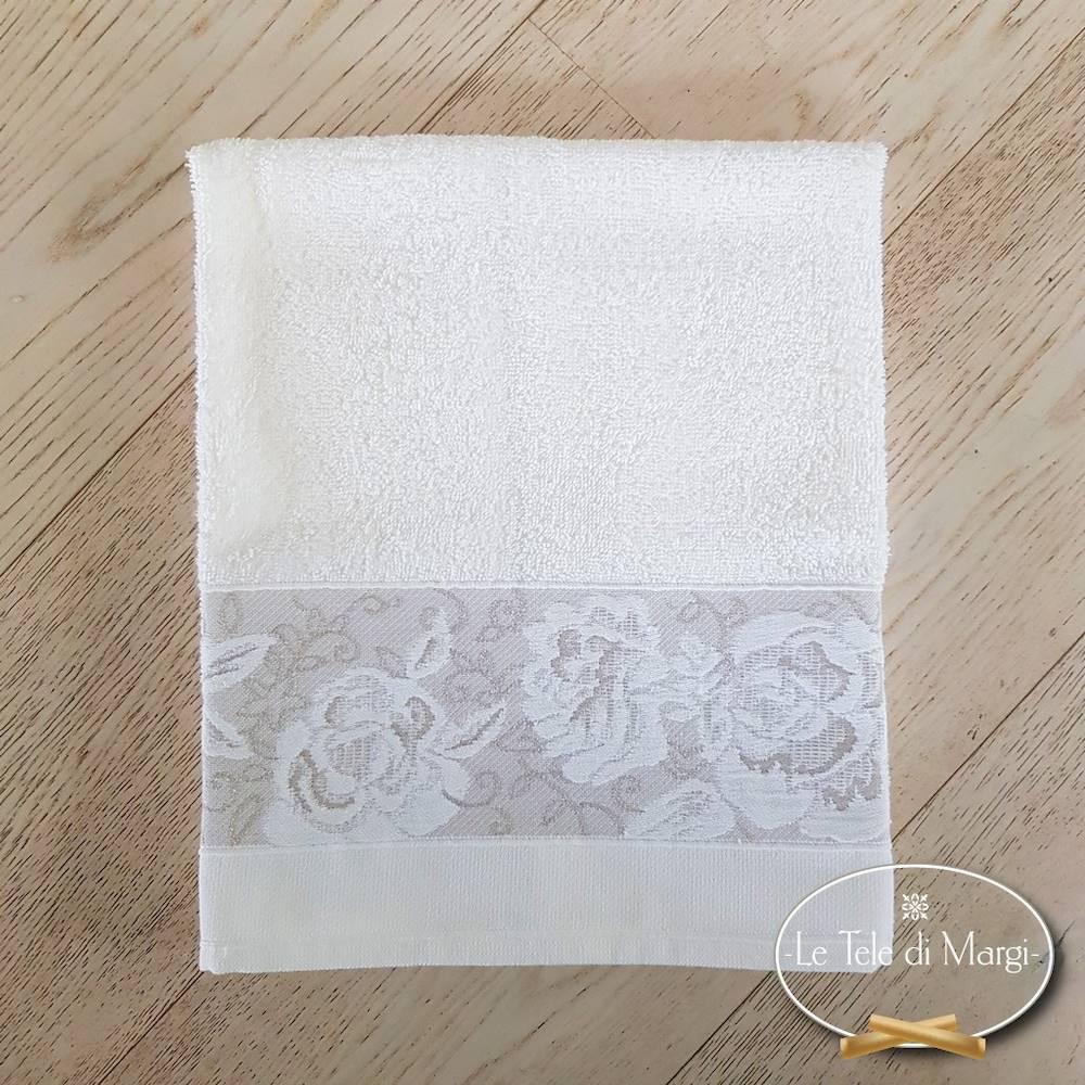 Telo doccia jacquard Rose bianco
