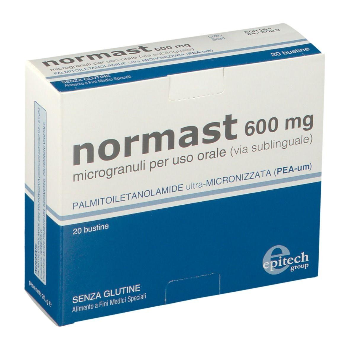 NORMAST 600 MG MICROGRANULI PER USO ORALE (VIA SUBLINGUALE). PALMITOILETANOLAMIDE ULTRA - MICRONIZZATA ( PEA - UM). SENZA GLUTINE. ALIMENTO A FINI MEDICI SPECIALI. 20 BUSTINE.