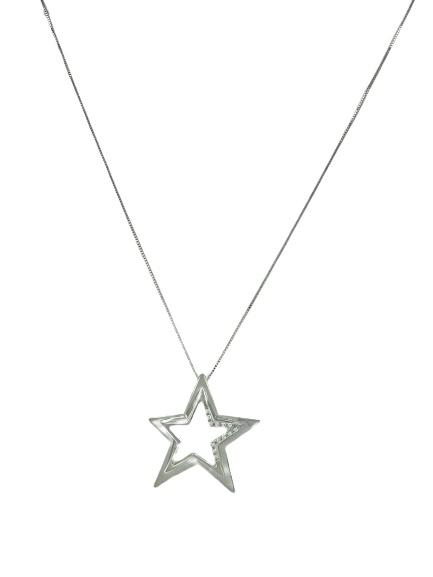 Girocollo Comete Gioielli in oro bianco 18kt e diamanti con stella
