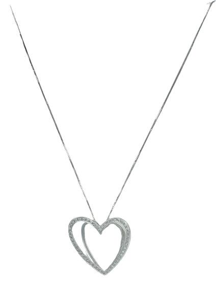 Girocollo Comete Gioielli in oro bianco 18kt e diamanti a forma di cuore