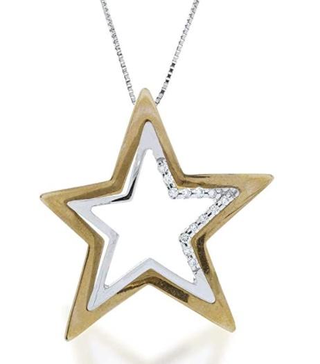 Girocollo Comete Gioielli in oro bicolore 18kt e diamanti con ciondolo a stella
