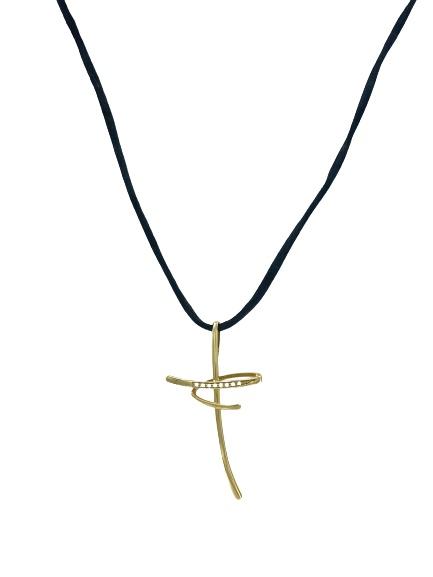 Ciondolo Comete Gioielli in oro 18Kt e diamanti a forma di croce