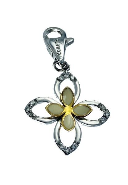 Ciondolo Comete Gioielli in oro bicolore 18kt e diamanti a doppio fiore