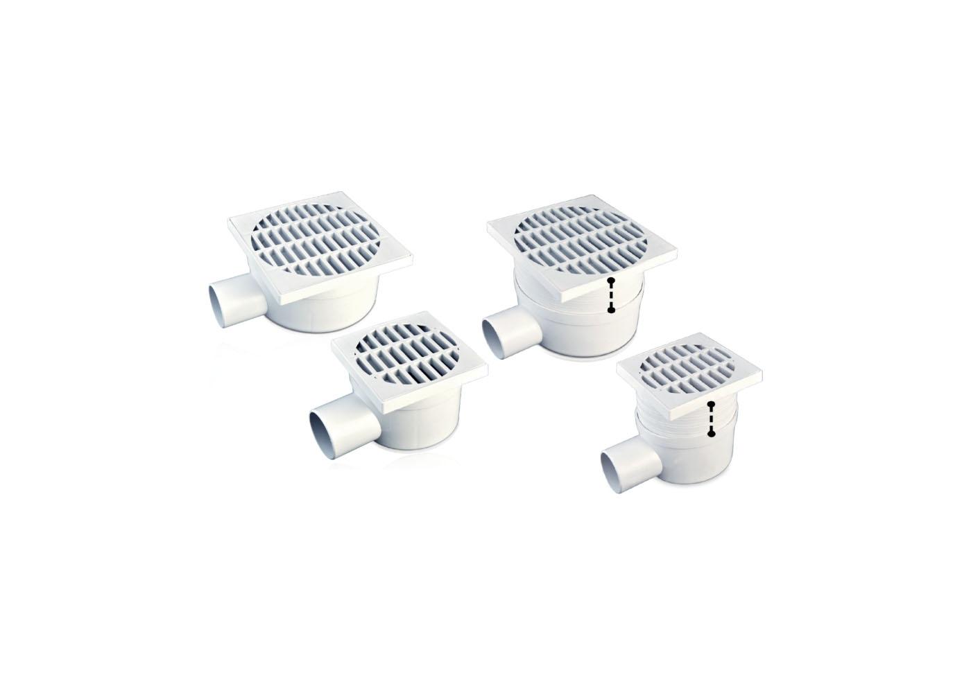 CHIUSINO SCARICO LATERALE TELESC. GRIGLIA PVC CM 11,5X11,5
