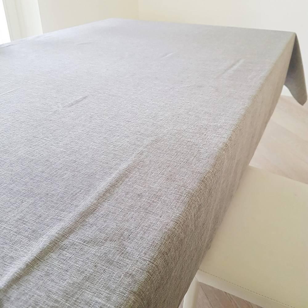 Tovaglia antimacchia idrorepellente effetto lino grigia 140 x 230